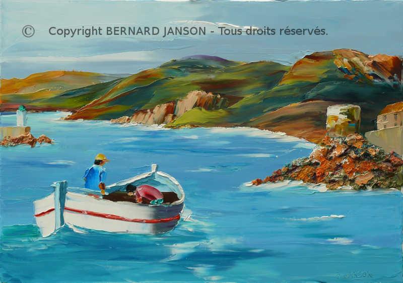 Favori la mer tableaux au couteau par BERNARD JANSON artiste peintre fran  LT88