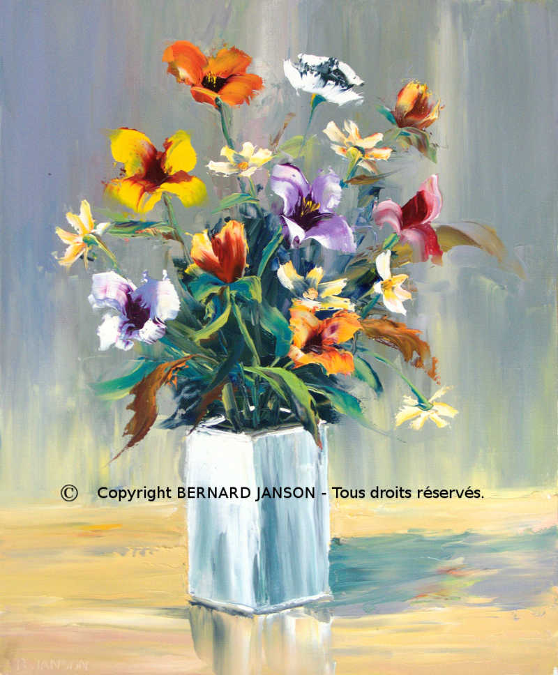 Fabuleux oeuvres d'art contemporain sur le thème des fleurs NJ31
