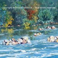 tableaux de peinture intimiste huile au couteau les bords verdoyants d'une rivière en té
