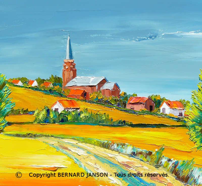 tableaux la campagne en paysages contemporains peinture à l'huile au couteau de style moderne