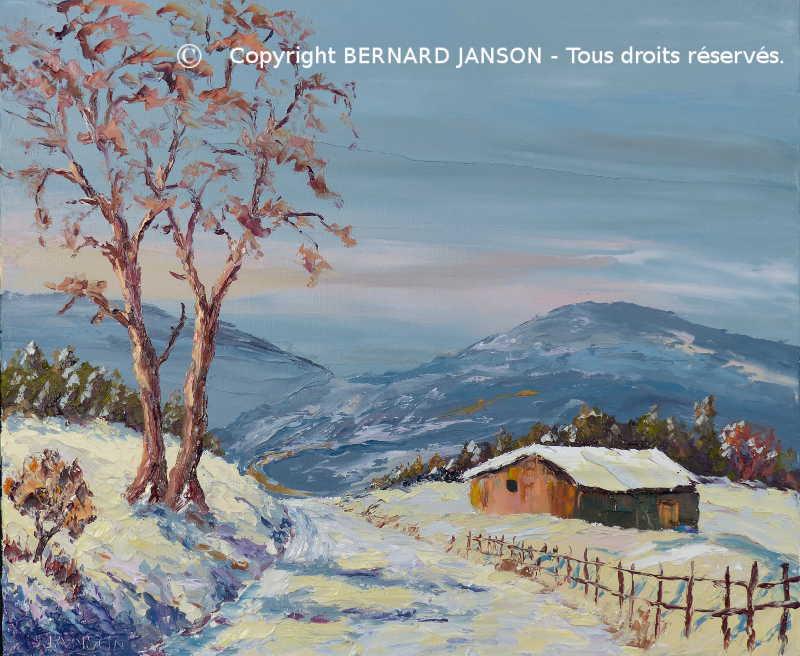 Tableaux au couteau peintures de paysages au sujet de la neige for Peinture acrylique maison
