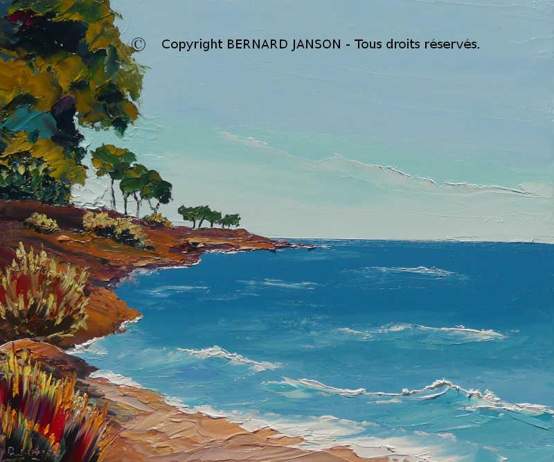 Extraordinaire La Mer Tableaux au Couteau par BERNARD JANSON Artiste Peintre DF-77